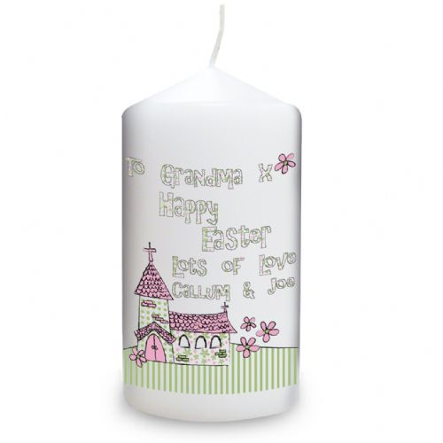 Personalised Whimsical Church Easter Candle